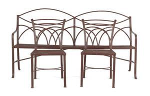 English wrought iron garden bench 19th c
