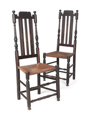 Pair of southeastern Pennsylvania William  Mary banister back dining chairs ca 1730