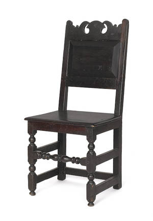 Southeastern Pennsylvania William  Mary walnut wainscot dining chair ca 1725