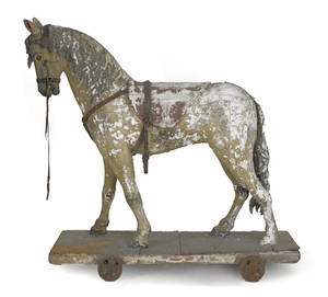 Carved and painted riding horse 19th c