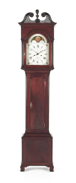 Chester County Pennsylvania Chippendale mahogany tall case clock ca 1795
