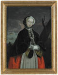 English reverse painted portrait of a woman