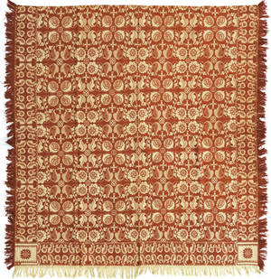 Red and white jacquard coverlet ca 1840