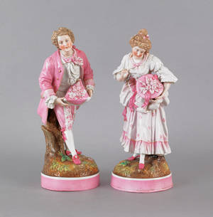 Pair of German porcelain figures of a man and woman