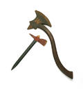 Painted wood firemans parade axe
