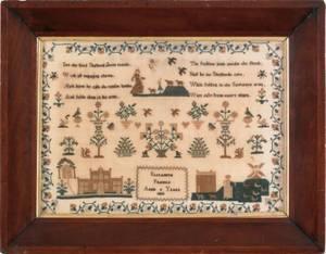 English silk on linen sampler dated 1833