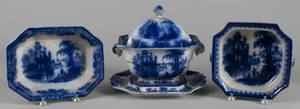 Flow Blue Coburg pattern tureen and undertray