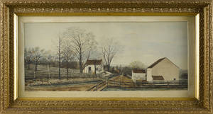 Pennsylvania watercolor farm scene late 19th c