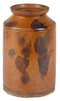 Large New England redware crock 19th c