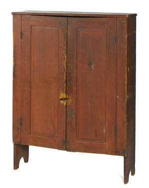Painted pine wall cupboard ca 1810