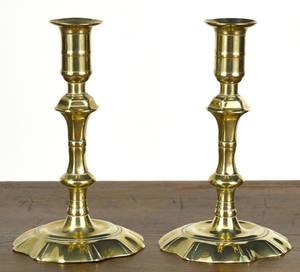 Pair of English Queen Anne brass candlesticks ca 1760