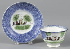 Blue spatter fort cup and saucer 19th c