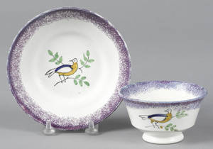 Purple spatter dove cup and saucer 19th c