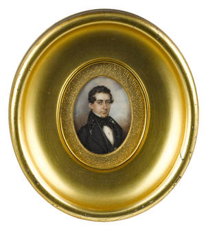 Miniature watercolor on ivory portrait of a gentleman ca 1830