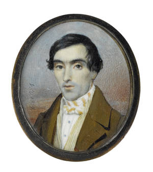 Miniature watercolor on ivory portrait of a gentleman dated