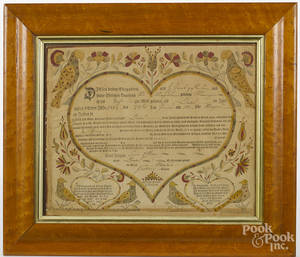 Bauman printed and hand colored fraktur birth certificate