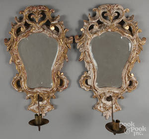 Pair of Italian giltwood mirrored sconces