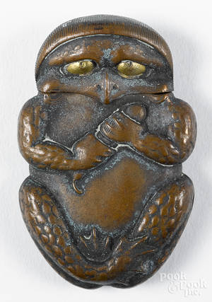 Japanese mixed metal figural frog match vesta safe