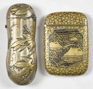 Two Japanese mixed metal match vesta safes