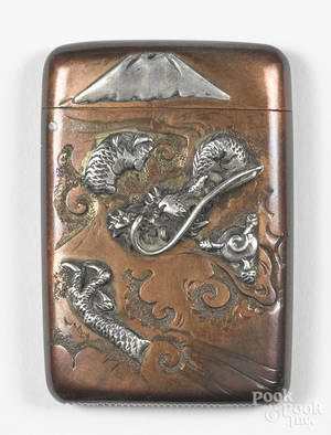 Japanese mixed metal match vesta safe with dragon and mountain decoration