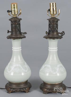 Pair of Caledon glaze porcelain table lamps