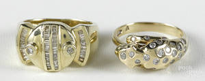Midcentury style 14K yellow gold and diamond ring with two full cut diamonds and four rows of baguette cut diamonds