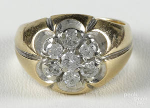 Diamond and 14K yellow gold ring with a cluster of seven round