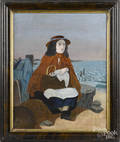 Primitive oil on canvas woman by the shore