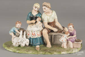 Italian hand painted porcelain figural group of a family