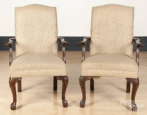 Pair of Ethan Allen Chippendale style mahogany open armchairs