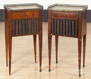 Pair of French marble top stands