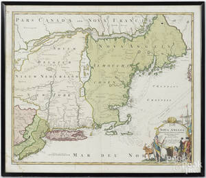 Homann engraved map of New England