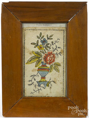 Printed and hand colored fraktur of potted flowers