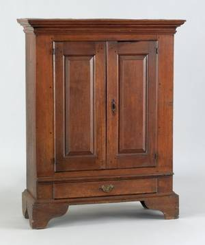 Rare diminutive Chester County Pennsylvania walnut linen cupboard ca 1780