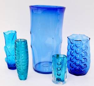 Five Blue Art Glass Vases Blenko  Whitefriars