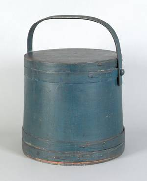 New England painted pine firkin 19th c