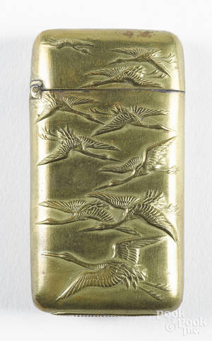 Japanese embossed brass crane match vesta safe