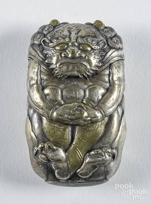 Japanese mixed metal figural ogre match vesta safe