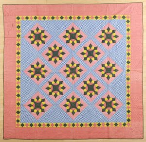 Pieced and appliqu flower in diamond quilt ca 1900