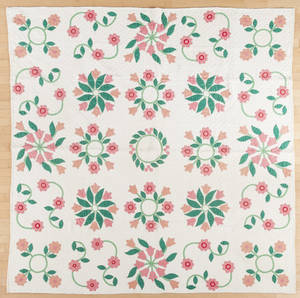 Pennsylvania appliqu tulip and vine quilt ca 1910