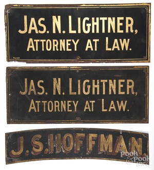 Three painted tin signs