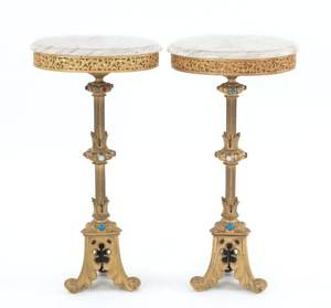 Pair of brass marble top stands