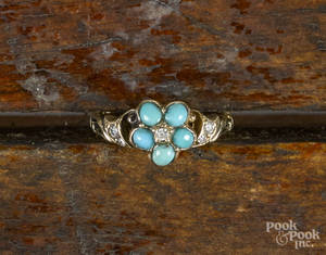 Early 14K yellow gold ring with five turquoise cabochons in the shape of a flower and five diamond accents
