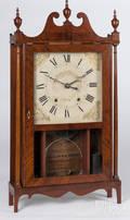 Chauncey Ives Federal mahogany pillar and scroll clock