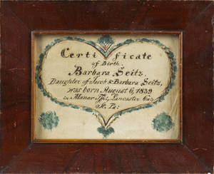 Lancaster County Pennsylvania ink and watercolor fraktur birth certificate