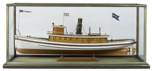 Carved and painted model of the steam yacht