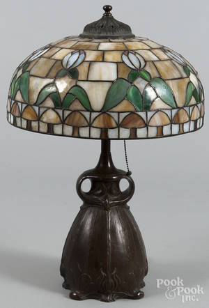 Art Nouveau patinated white metal table lamp