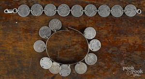 Victorian sterling silver love token bangle bracelet with ten engraved silver disks and coins