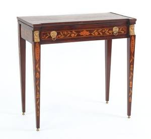Marquetry inlaid mahogany games table