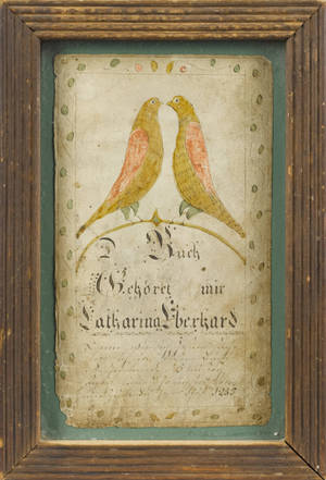 Southeastern Pennsylvania ink and watercolor fraktur bookplate dated
